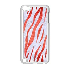 Skin3 White Marble & Red Brushed Metal (r) Apple Ipod Touch 5 Case (white) by trendistuff