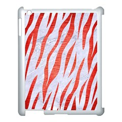 Skin3 White Marble & Red Brushed Metal (r) Apple Ipad 3/4 Case (white)