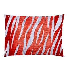 Skin3 White Marble & Red Brushed Metal Pillow Case by trendistuff
