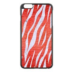 Skin3 White Marble & Red Brushed Metal Apple Iphone 6 Plus/6s Plus Black Enamel Case by trendistuff