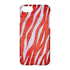 Skin3 White Marble & Red Brushed Metal Apple Iphone 8 Hardshell Case