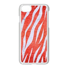Skin3 White Marble & Red Brushed Metal Apple Iphone 8 Seamless Case (white)