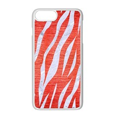 Skin3 White Marble & Red Brushed Metal Apple Iphone 8 Plus Seamless Case (white) by trendistuff