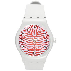 Skin2 White Marble & Red Brushed Metal (r) Round Plastic Sport Watch (m) by trendistuff
