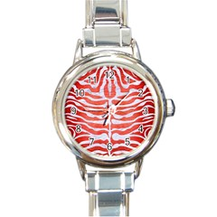 Skin2 White Marble & Red Brushed Metal Round Italian Charm Watch by trendistuff