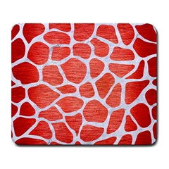 Skin1 White Marble & Red Brushed Metal (r) Large Mousepads by trendistuff
