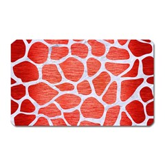 Skin1 White Marble & Red Brushed Metal (r) Magnet (rectangular) by trendistuff