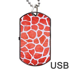 Skin1 White Marble & Red Brushed Metal (r) Dog Tag Usb Flash (two Sides) by trendistuff