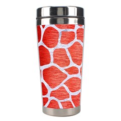 Skin1 White Marble & Red Brushed Metal (r) Stainless Steel Travel Tumblers by trendistuff