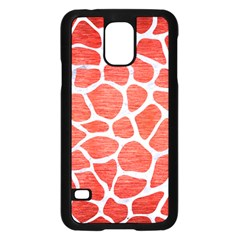 Skin1 White Marble & Red Brushed Metal (r) Samsung Galaxy S5 Case (black) by trendistuff