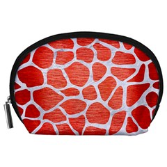 Skin1 White Marble & Red Brushed Metal (r) Accessory Pouches (large)  by trendistuff