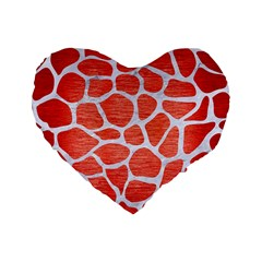 Skin1 White Marble & Red Brushed Metal (r) Standard 16  Premium Flano Heart Shape Cushions by trendistuff