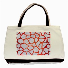 Skin1 White Marble & Red Brushed Metal Basic Tote Bag by trendistuff