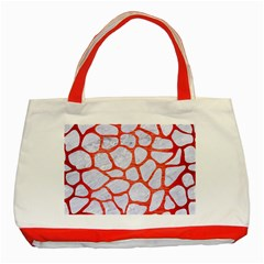 Skin1 White Marble & Red Brushed Metal Classic Tote Bag (red) by trendistuff