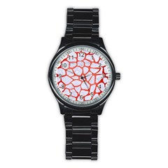 Skin1 White Marble & Red Brushed Metal Stainless Steel Round Watch by trendistuff