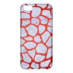 Skin1 White Marble & Red Brushed Metal Apple Iphone 5c Hardshell Case by trendistuff