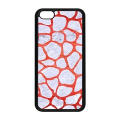 Skin1 White Marble & Red Brushed Metal Apple Iphone 5c Seamless Case (black) by trendistuff