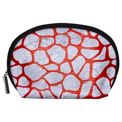 Skin1 White Marble & Red Brushed Metal Accessory Pouches (large)  by trendistuff