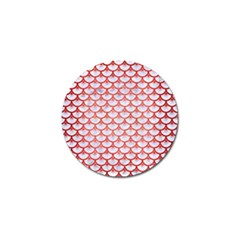 Scales3 White Marble & Red Brushed Metal (r) Golf Ball Marker by trendistuff