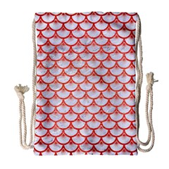 Scales3 White Marble & Red Brushed Metal (r) Drawstring Bag (large) by trendistuff