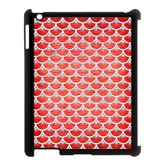 Scales3 White Marble & Red Brushed Metal Apple Ipad 3/4 Case (black) by trendistuff