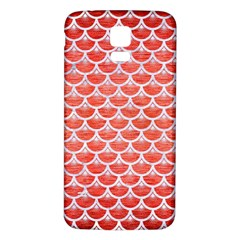 Scales3 White Marble & Red Brushed Metal Samsung Galaxy S5 Back Case (white) by trendistuff