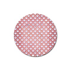 Scales2 White Marble & Red Brushed Metal (r) Magnet 3  (round)
