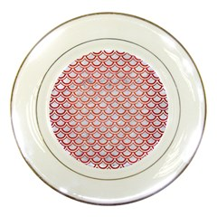 Scales2 White Marble & Red Brushed Metal (r) Porcelain Plates by trendistuff