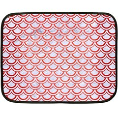 Scales2 White Marble & Red Brushed Metal (r) Double Sided Fleece Blanket (mini)  by trendistuff