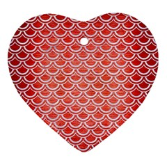 Scales2 White Marble & Red Brushed Metal Ornament (heart) by trendistuff
