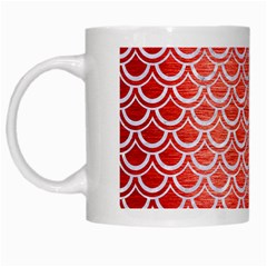 Scales2 White Marble & Red Brushed Metal White Mugs by trendistuff