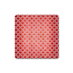 Scales2 White Marble & Red Brushed Metal Square Magnet by trendistuff