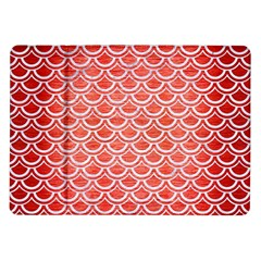 Scales2 White Marble & Red Brushed Metal Samsung Galaxy Tab 10 1  P7500 Flip Case by trendistuff