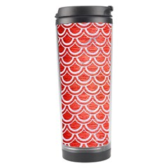 Scales2 White Marble & Red Brushed Metal Travel Tumbler by trendistuff