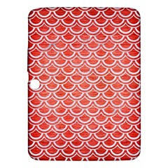 Scales2 White Marble & Red Brushed Metal Samsung Galaxy Tab 3 (10 1 ) P5200 Hardshell Case  by trendistuff