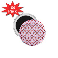 Scales1 White Marble & Red Brushed Metal (r) 1 75  Magnets (100 Pack)  by trendistuff