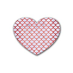 Scales1 White Marble & Red Brushed Metal (r) Rubber Coaster (heart)  by trendistuff