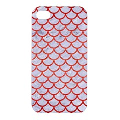 Scales1 White Marble & Red Brushed Metal (r) Apple Iphone 4/4s Hardshell Case by trendistuff