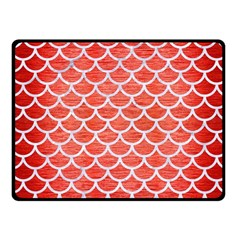 Scales1 White Marble & Red Brushed Metal Fleece Blanket (small) by trendistuff