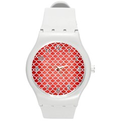 Scales1 White Marble & Red Brushed Metal Round Plastic Sport Watch (m) by trendistuff