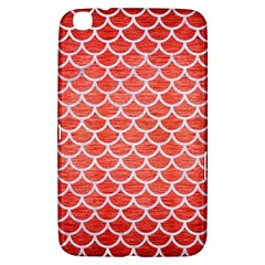 Scales1 White Marble & Red Brushed Metal Samsung Galaxy Tab 3 (8 ) T3100 Hardshell Case  by trendistuff