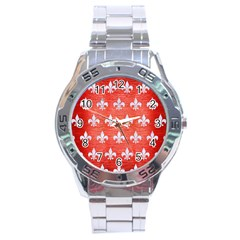 Royal1 White Marble & Red Brushed Metal (r) Stainless Steel Analogue Watch by trendistuff