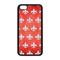 Royal1 White Marble & Red Brushed Metal (r) Apple Iphone 5c Seamless Case (black) by trendistuff