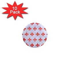 Royal1 White Marble & Red Brushed Metal 1  Mini Magnet (10 Pack)  by trendistuff