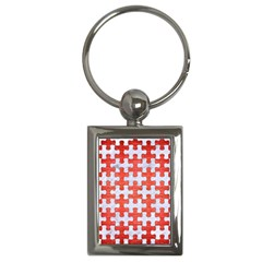Puzzle1 White Marble & Red Brushed Metal Key Chains (rectangle)  by trendistuff