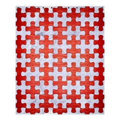 Puzzle1 White Marble & Red Brushed Metal Shower Curtain 60  X 72  (medium)  by trendistuff