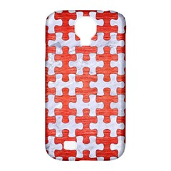 Puzzle1 White Marble & Red Brushed Metal Samsung Galaxy S4 Classic Hardshell Case (pc+silicone) by trendistuff