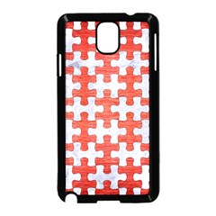 Puzzle1 White Marble & Red Brushed Metal Samsung Galaxy Note 3 Neo Hardshell Case (black) by trendistuff