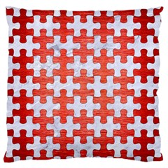 Puzzle1 White Marble & Red Brushed Metal Large Flano Cushion Case (one Side) by trendistuff