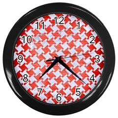 Houndstooth2 White Marble & Red Brushed Metal Wall Clocks (black) by trendistuff